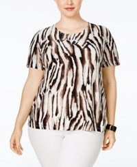 Jm Collection Woman Jm Collection Plus Size Printed Jacquard Top Only At Macy's Deep Black