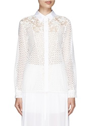 See By Chloe Lace Patchwork Schiffli Embroidery Shirt White