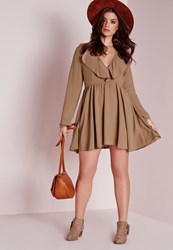 Missguided Plus Size Frilly Swing Dress Nude Brown