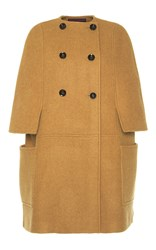 Martin Grant Long Double Breasted Wool Cape Tan