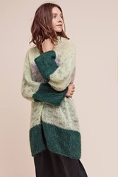 Anthropologie Prix Stripe Cardigan Green