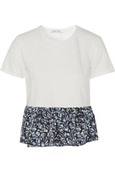 Elizabeth And James Zuma Printed Silk Paneled Cotton Top