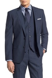 Calibrate Trim Fit Wool And Mohair Blazer Blue