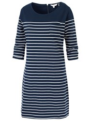Fat Face Tenby Breton Stripe Dress Navy
