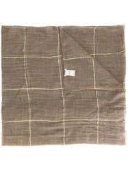 Brunello Cucinelli Grid Check Scarf Brown