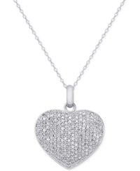 Macy's Diamond Pave Heart Locket Pendant Necklace 2 Ct. T.W. In Sterling Silver