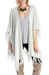 Sole Society Women's Fringe Knit Wrap Light Grey