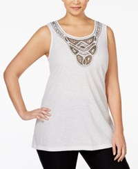Jm Collection Woman Jm Collection Plus Size Embellished Tank Top Only At Macy's Bright White
