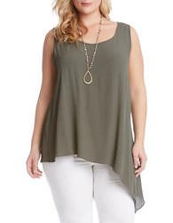 Karen Kane Plus Plus Olive Asymmetrical Tank Top Green