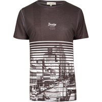 River Island Mens Dark Grey Brooklyn Print T Shirt