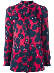 Jil Sander Navy Abstract Print Blouse Red