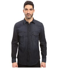7 For All Mankind Western Shirt Indigo Black Men's Long Sleeve Button Up