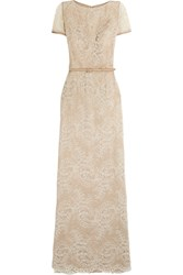 Catherine Deane Beau Satin Trimmed Lace Gown White