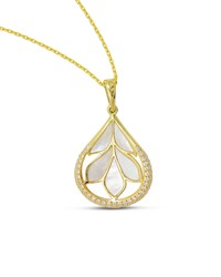 18K Gold Folia Mother Of Pearl Pendant Necklace Frederic Sage