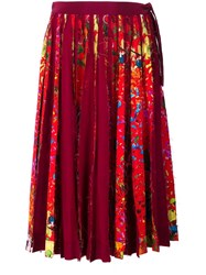 Jonathan Cohen Floral Print Pleated Skirt Red