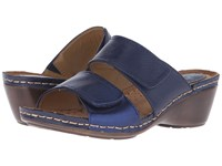 Softspots Panama Soft Spots Sport Navy Metallic Navy Calf Ionic Cow Metallic Women's Slide Shoes Blue