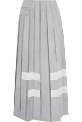 Fendi Pleated Suede And Silk Organza Maxi Skirt