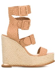 Paloma Barcelo Double Ankle Strap Wedge Sandals Pink And Purple
