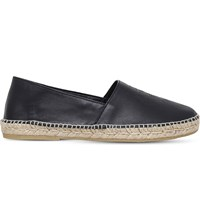 Kenzo Tiger Head Embossed Leather Espadrilles Black