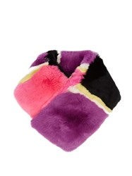 Diane Von Furstenberg Striped Rabbit Fur Scarf Pink Multi