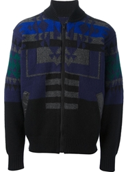 Sacai Patterned Zipped Sweater Black