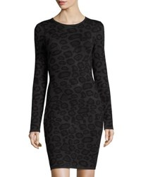 John And Jenn Leopard Print Long Sleeve Knit Dress Gray