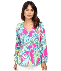 Lilly Pulitzer Willa Top Magenta Hottie Women's Clothing Blue