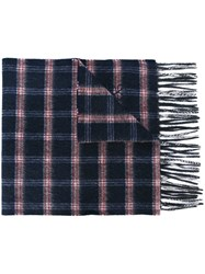 Canali Checked Scarf Blue