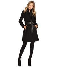 Vince Camuto Belted Mixed Media Wool Jacket L1151 Black Women's Coat