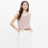 Madewell Whisper Cotton Crewneck Muscle Tank In Ashmore Stripe