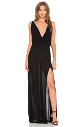 Bobi Rayon Gauze V Neck Sleeveless Maxi Dress Black
