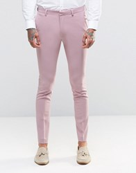 Asos Super Skinny Fit Suit Trousers In Pink Pink