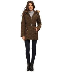 Jessica Simpson Belted Down With Faux Fur Trim Military Women's Clothing Olive