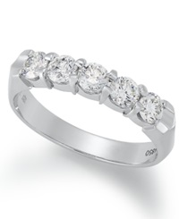 Macy's Certified Five Stone Diamond Anniversary Band Ring In 14K White Gold 1 Ct. T.W.