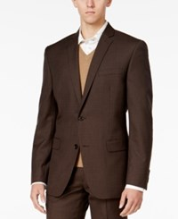 Bar Iii Men's Slim Fit Brown Mini Check Jacket Only At Macy's