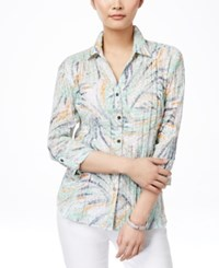 Jm Collection Crinkle Pleat Printed Shirt Only At Macy's