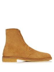 Saint Laurent Nevada Suede Ankle Boots Light Brown