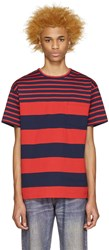 Kidill Red And Navy Striped T Shirt