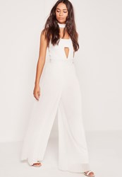 Missguided Pleated Wide Leg Trousers White White