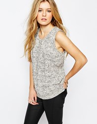 Mango Printed Sleeveless Top Grey