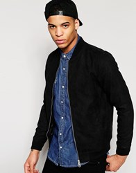 Pull And Bear Pullandbear Faux Suede Bomber In Black Black
