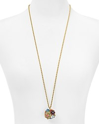 Kenneth Jay Lane Floral Ball Pendant Necklace 33 Gold Multi