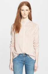 Burberry Collarless Stripe Shirt Vibrant Orange