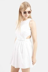 Topshop Embroidered Pinafore Sundress White