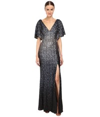 Marchesa Ombre Sequin Gown Navy