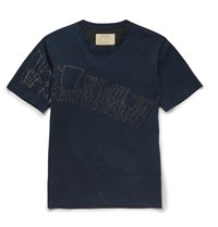 Wooyoungmi Slim Fit Chalk Print Cotton Jersey T Shirt Blue