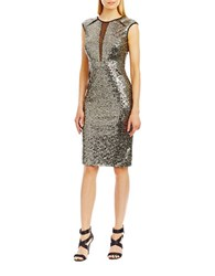 Nicole Miller New York Mesh Insert Cocktail Dress Gold Black