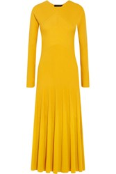 Cedric Charlier Ribbed Knit Midi Dress Marigold