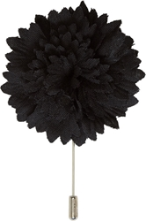 Lanvin Black Wool Floral Tie Pin