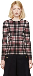 Alexander Mcqueen Red Plaid Crewneck